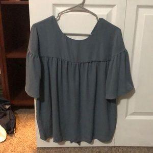 Loft Outlet 3/4 Sleeve Blue Tie-Back Shirt